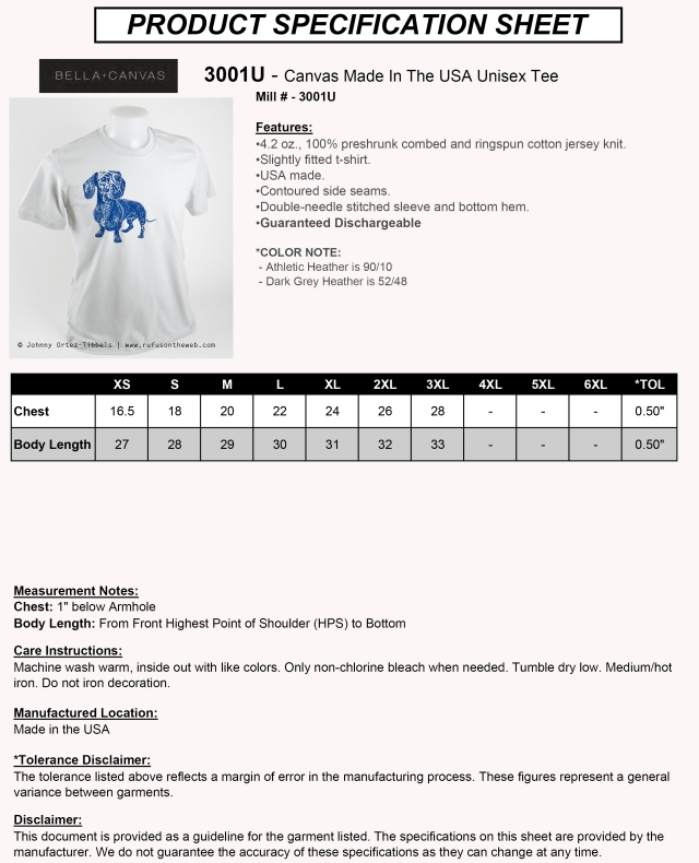 DOGS T-shirt Specifications