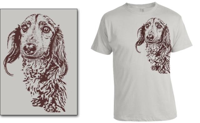 DOGS Fall 2013 longhair (Colin) dachshund T-shirt. © Johnny Ortez-Tibbels | www.rufusontheweb.com