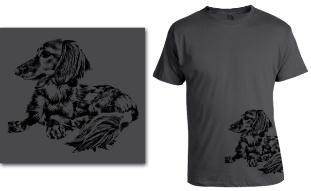 DOGS Fall 2013 longhair (Preston) dachshund T-shirt. © Johnny Ortez-Tibbels | www.rufusontheweb.com