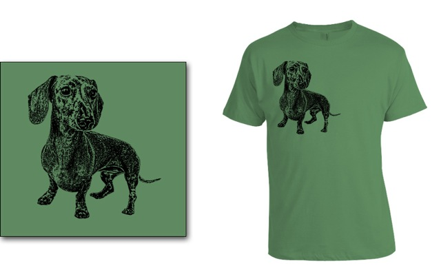 DOGS Fall 2013 smooth dachshund T-shirt. © Johnny Ortez-Tibbels | www.rufusontheweb.com