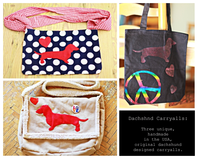 Handmade dachshund themed carryalls.