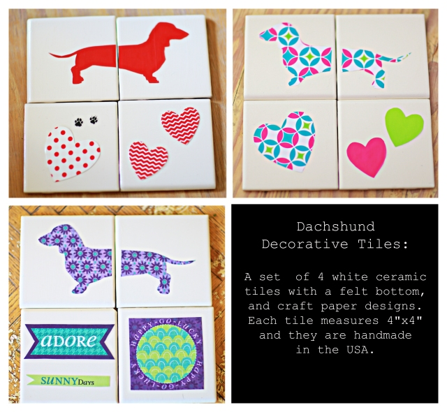 Handmade Dachshund themed tiles.