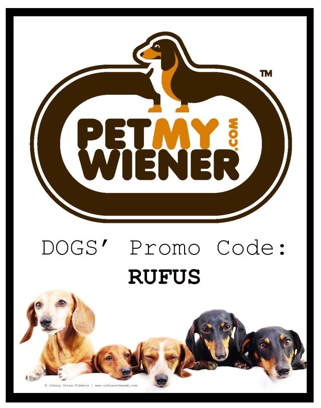 PetMyWiener.com Logo and Promo Code: Rufus