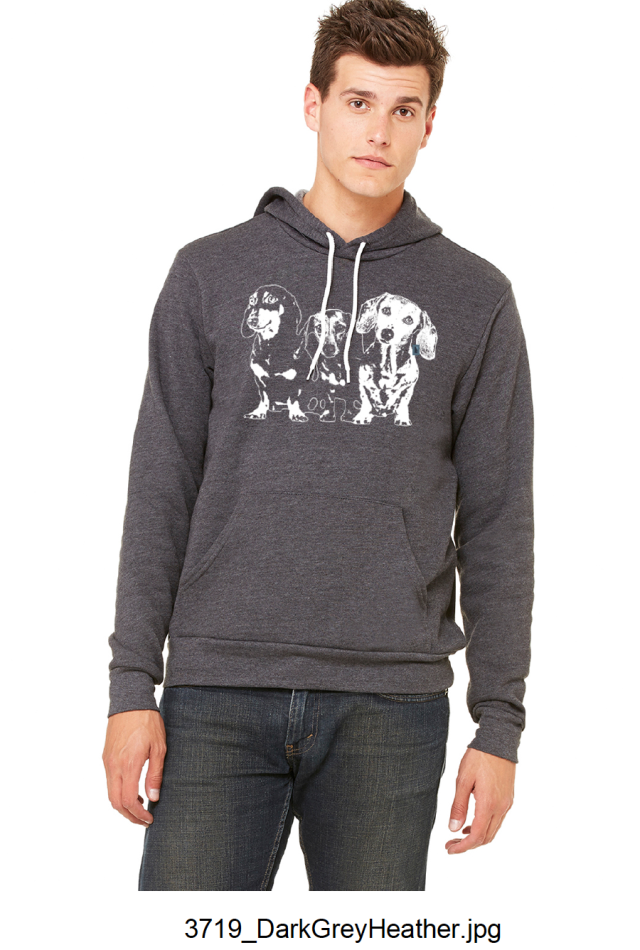 A dark grey fleece pullover hoodie* (ONLY 4 left --> 3 XL and 1 XXL) $70.