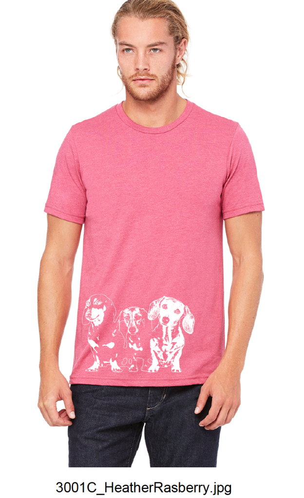 A T-shirt in two different colors (Heather Slate or Heather Raspberry) $45.